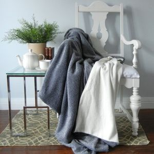 Other - Shaggy Grey & White Wool Blanket Throw